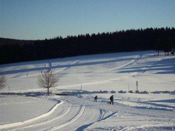 Blick auf den Skihang am Vesser-Crux, auf einer Höhenlage von bis zu 700 Metern.