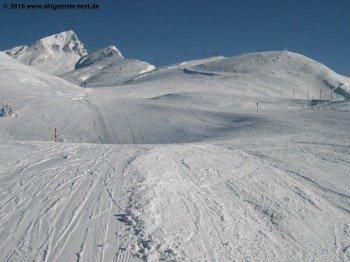 Beginn der Choucas mit Aussicht auf den Gipfel!