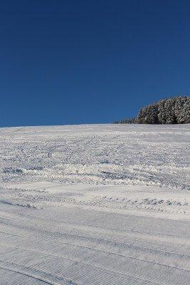 Vom Ankerlift geht es die blau markierte Piste Nummer 1 hinab ins Tal.
