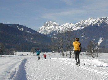 Nach dem Skifahren lässt sich das Gitschtal auch auf Langlaufskiern erkunden.