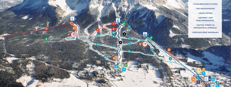 Ehrwald Pistenplan Ehrwalder Wettersteinbahnen Skigebiet in der Tiroler Zugspitzarena