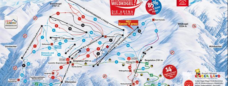 Pistenplan Wildkogel-Arena Neukirchen & Bramberg