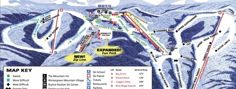 Pistenplan Wintergreen Ski Resort