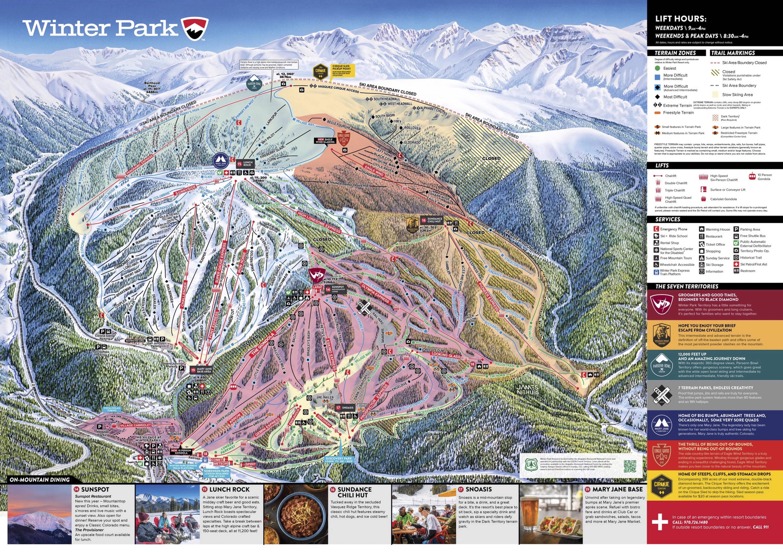 Pistenplan von Winter Park Resort