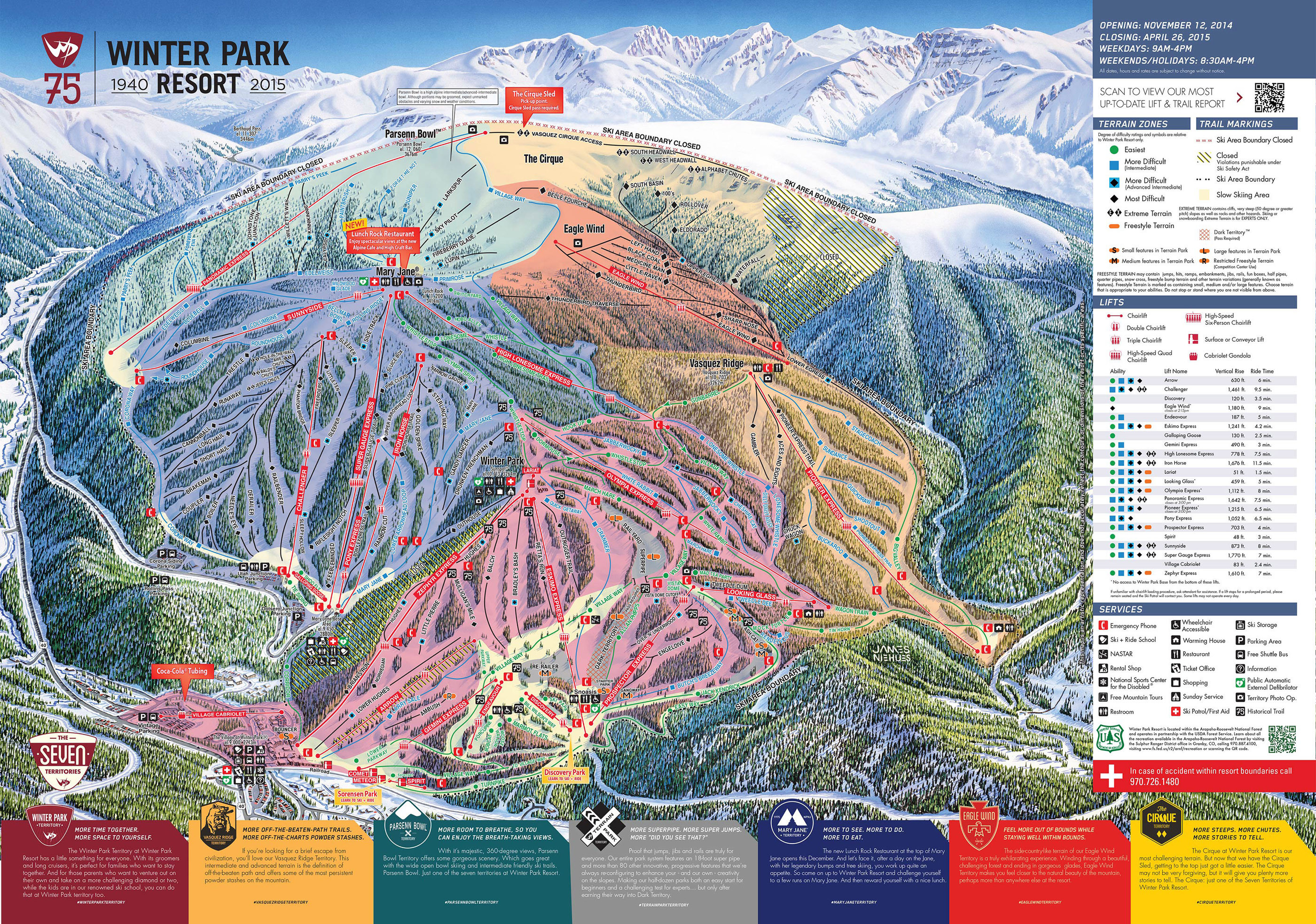 Pistenplan von Winter Park Resort