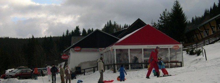Après-Ski Zelt im Teilgebiet Churanov