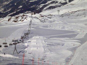 Der Snowpark Zermatt fotografiert von oben