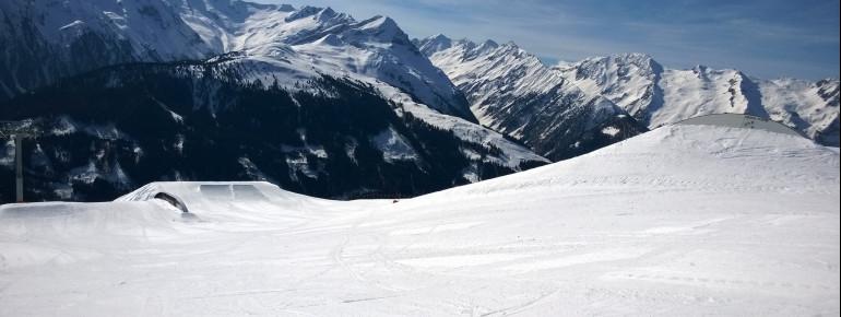 Blick auf Pro- und Medium-Line im Snowpark Gerlos
