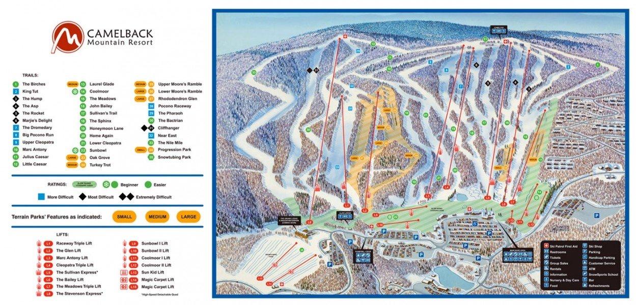 Trail Map Camelback Ski Area Panorama