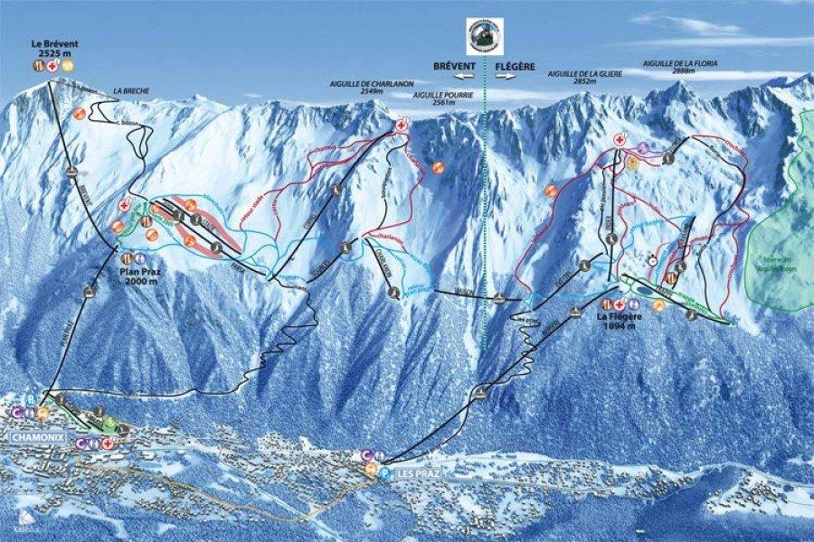 Trail map Chamonix Brevent Flegere • Panorama