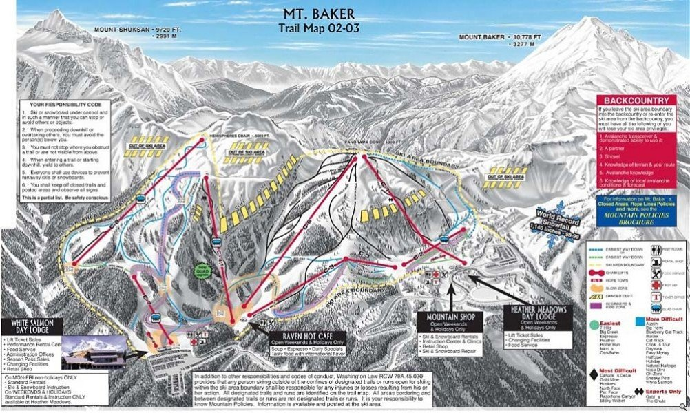 Trail Map Mt Baker Ski Area Panorama