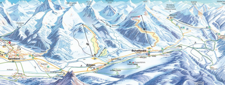 Trail Map Rohnenlifte Zöblen