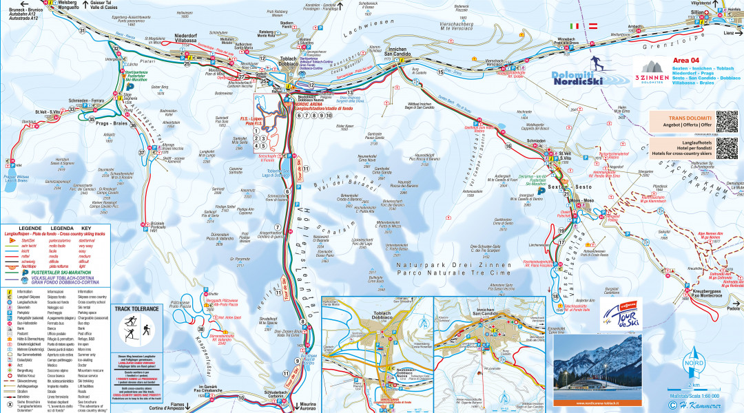 Cross Country Skiing Trail Map 3 Zinnen Dolomites Nordic