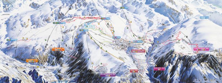 Loipenplan Alpe d'Huez
