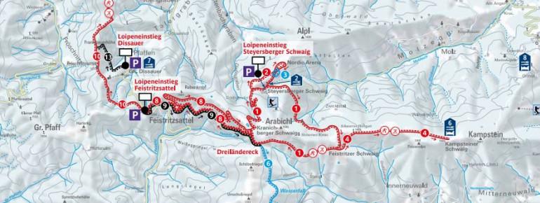 Loipenplan Arabichl – Kirchberg am Wechsel