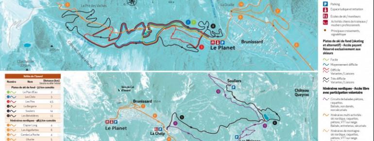Loipenplan Arvieux - Vallée de l'Izoard