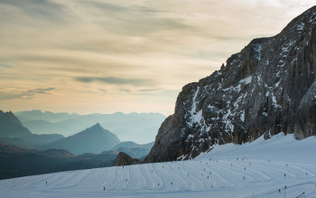 Beautiful landscape at cross-country skiing at Dachstein Glacier.