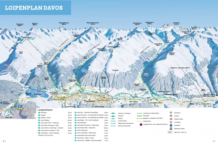 CrossCountry Skiing Trail Map Davos Klosters Nordic Trail Map