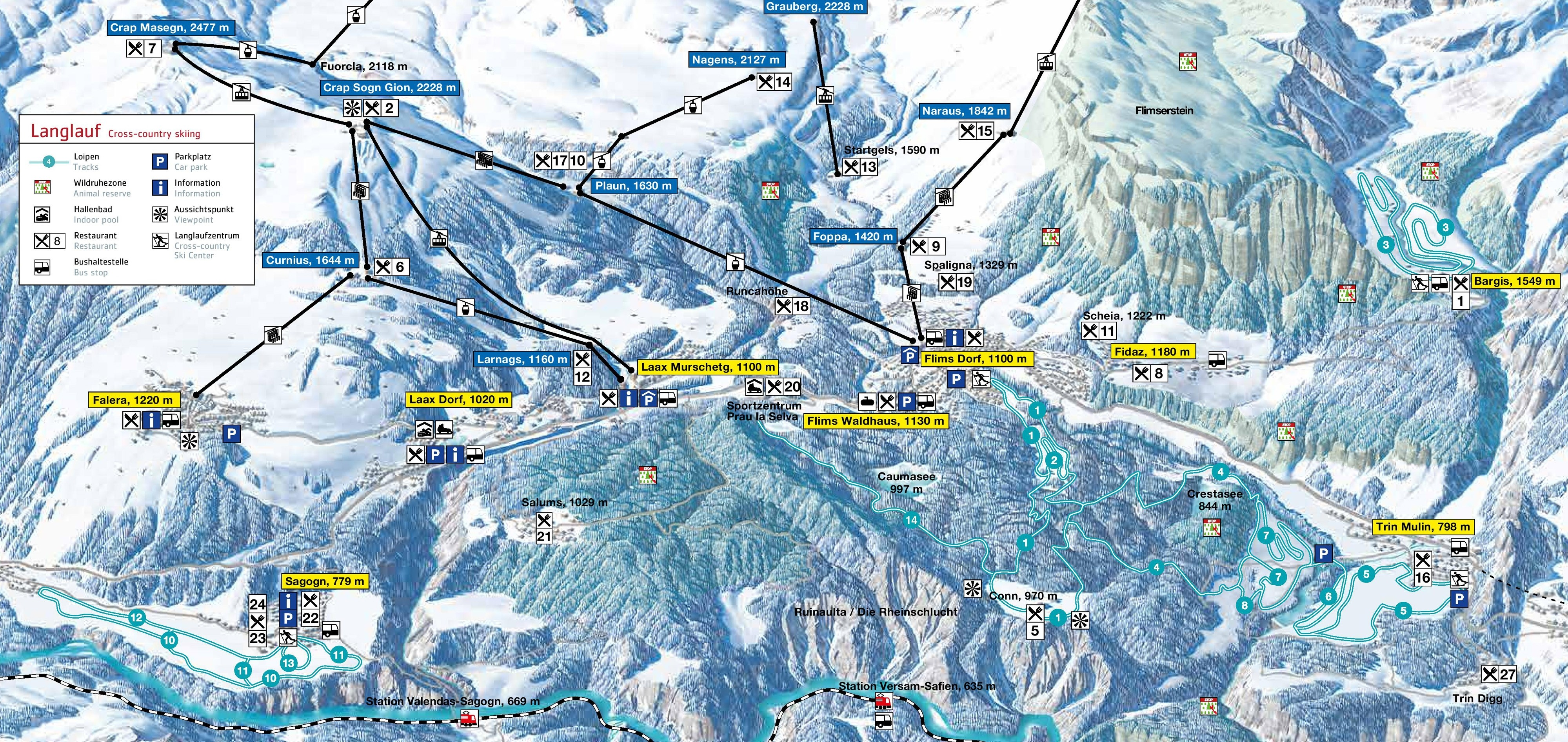CrossCountry Skiing Flims Laax Falera Nordic skiing Tracks