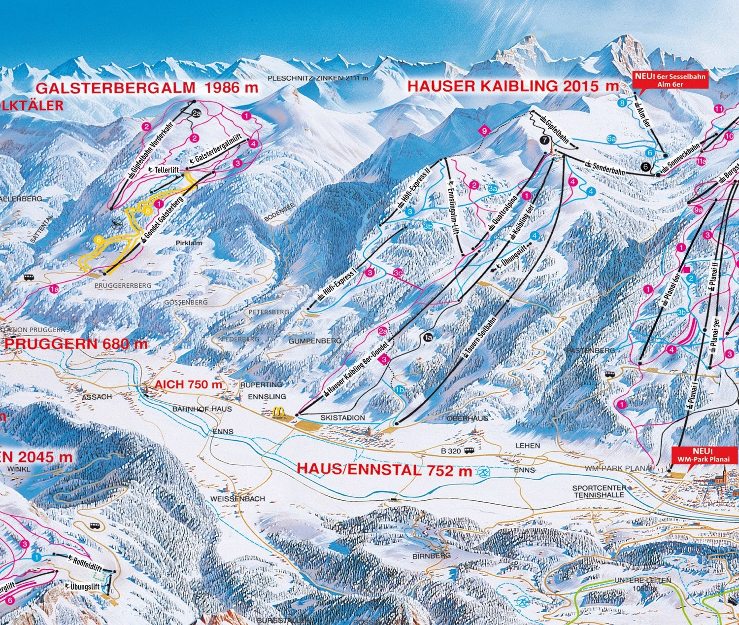 cross country skiing trail map hauser kaibling schladming ski amade nordic trail map. Black Bedroom Furniture Sets. Home Design Ideas