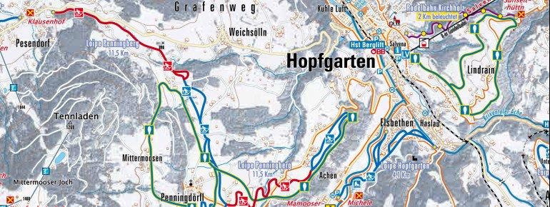 Loipenplan Hopfgarten - Kelchsau