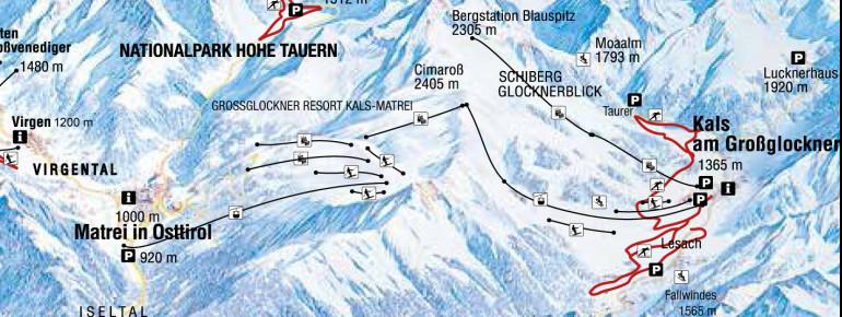 Loipenplan Kals - Matrei - Virgen - Prägraten (Nationalpark Hohe Tauern)