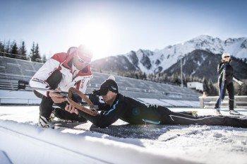 Wer möchte, kann rund um den Kronplatz auch den Nordischen Kombinationssport Biathlon ausprobieren.