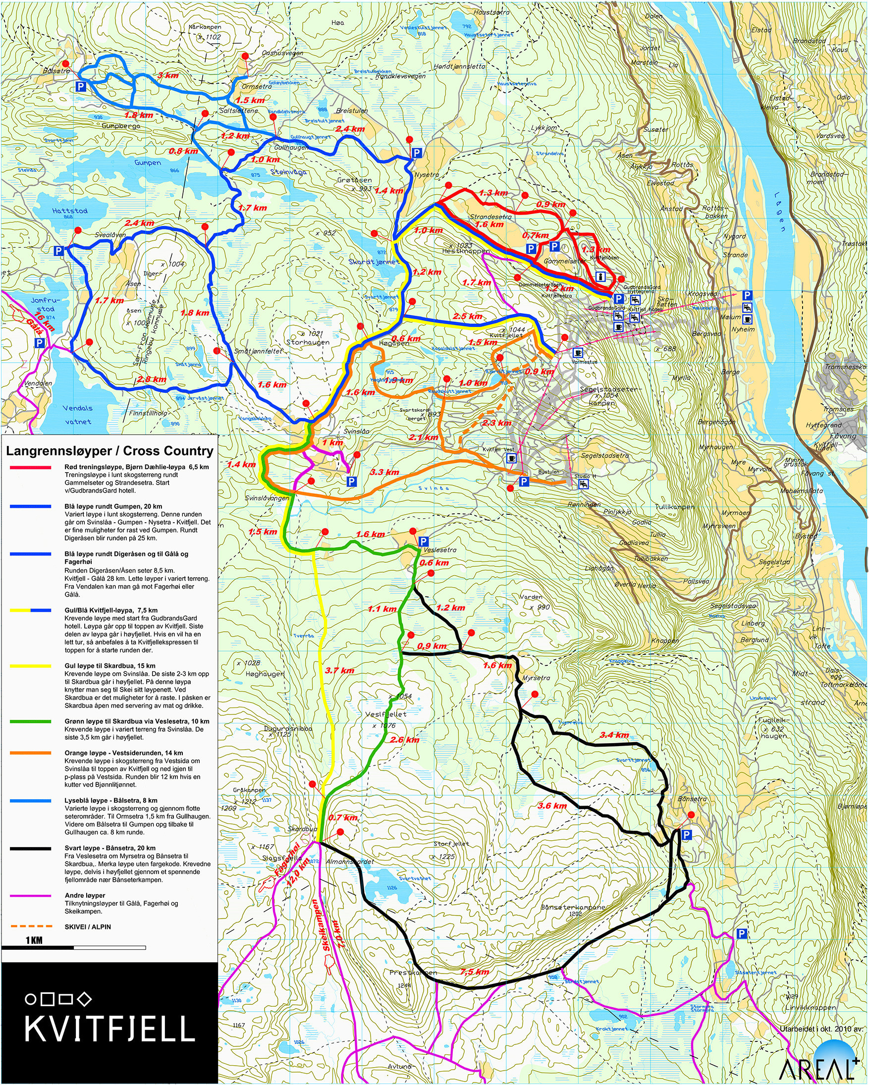 Cross Country Skiing Trail Map Kvitfjell Nordic Trail Map