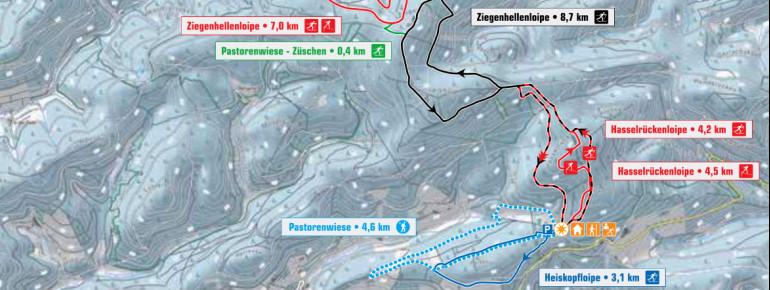 Loipenplan Langlaufzentrum Pastorenwiese Wunderthausen