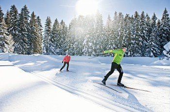 Cross-country skiers can explore over 50 kilometers (31 miles) of trails in Lenzerheide.