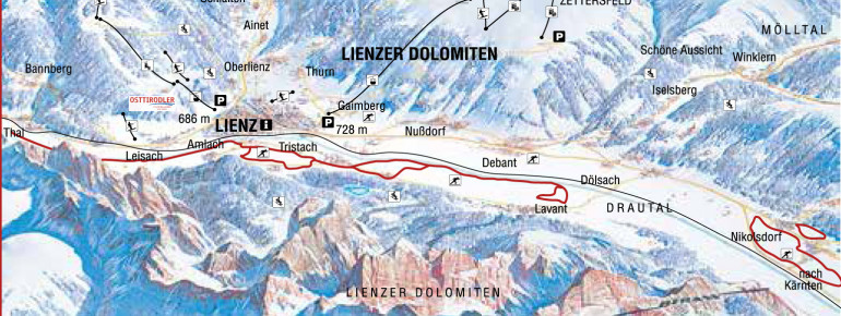 Loipenplan Lienzer Dolomiten