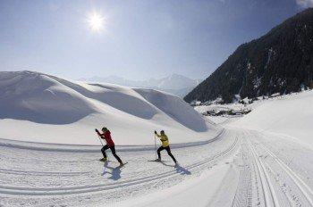 Zwölf Loipenkilometer ziehen sich durch die winterliche Natur rund um Obergurgl-Hochgurgl.