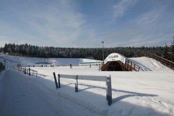 Blick in die Biathlon Arena in Oberhof
