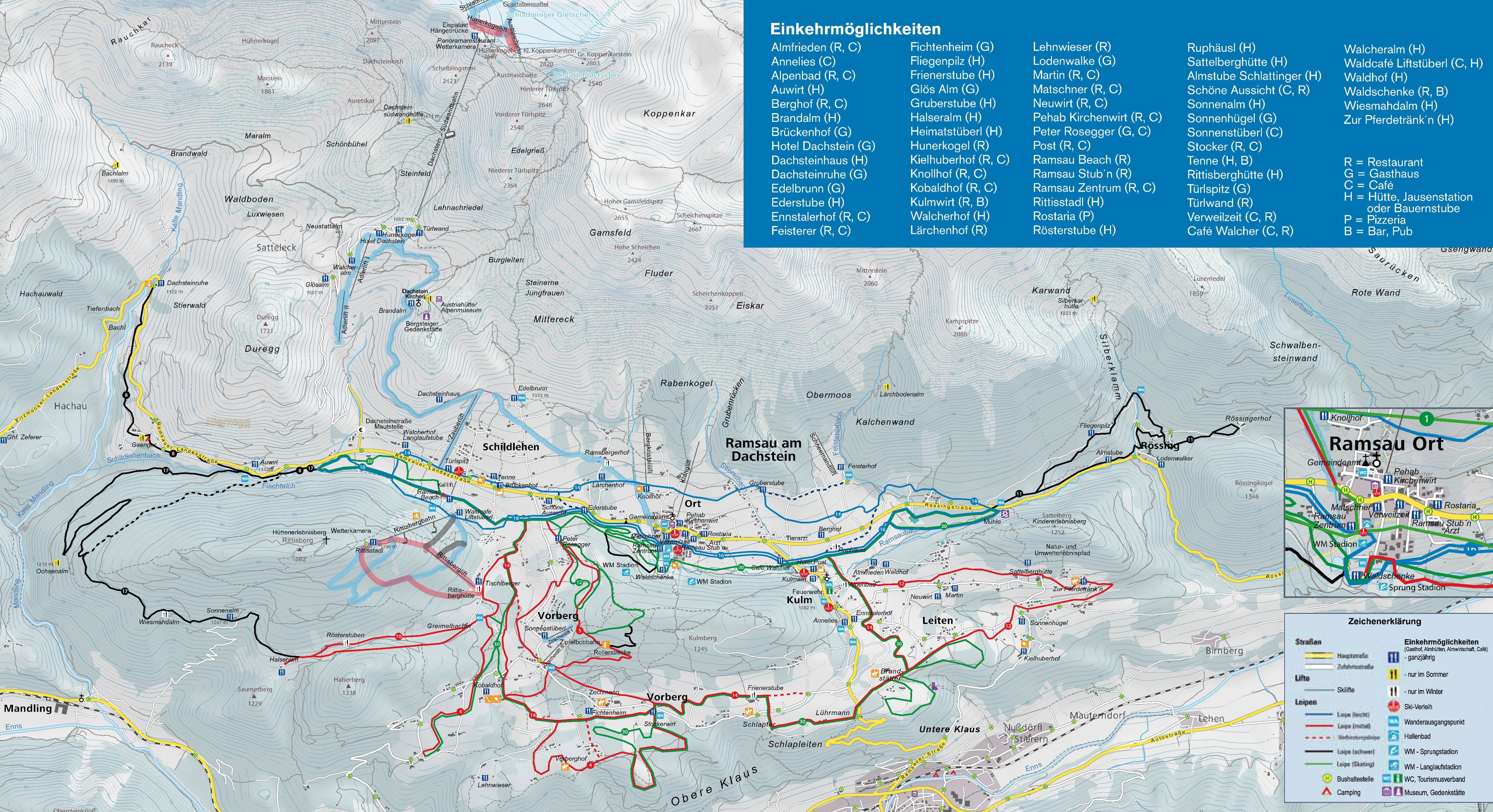 Dachstein Karte.Loipenplan Ramsau Am Dachstein Gespurte Loipen Offene Loipen
