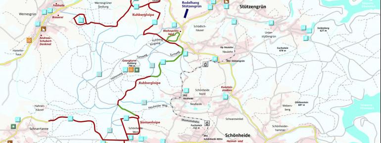 Loipenplan Rund um den Kuhberg - Stützengrün