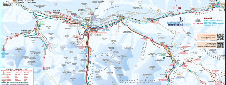 Loipenplan 3 Zinnen Dolomiten