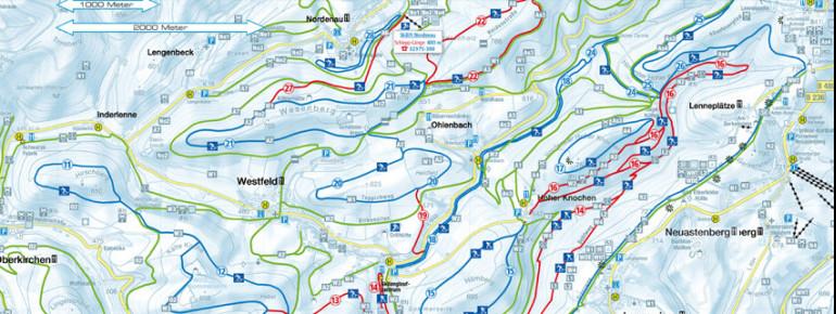 Loipenplan Skilanglaufzentrum Westfeld Ohlenbach