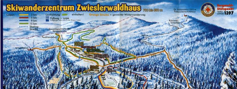 Loipenplan Skiwanderzentrum Zwieslerwaldhaus