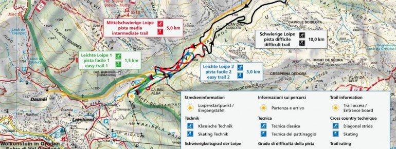 Langlaufen in Gröden - Die Landkarte