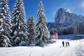 Rund um Wolkenstein, St. Christina und St. Ulrich laden traumhafte Loipen zum genussvollen Langlaufen ein.