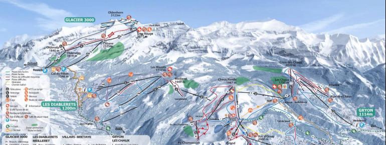 Loipenplan Villars - Gryon - Les Diablerets - Glacier 3000