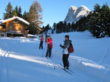Langlaufen in Villnöss kurz vor der Halsl Hütte