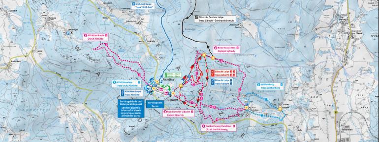 Loipenplan Wintersportzentrum Cerchov - Gibacht - Voithenberg
