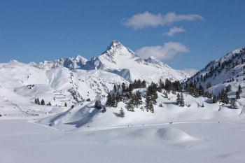 Winterwonderland at the Hochtannbergpass.In the background the Biberkopf 2.599.
