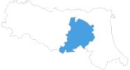 Karte der Skigebiete in Bologna