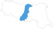 Karte der Skigebiete in Modena