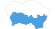 Karte der Skigebiete in der Region Kosice und Umgebung