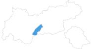 Karte der Skigebiete in Stubai