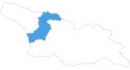 Karte der Skigebiete in Mingrelien und Oberswanetien