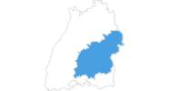 Karte der Skigebiete Schwäbische Alb